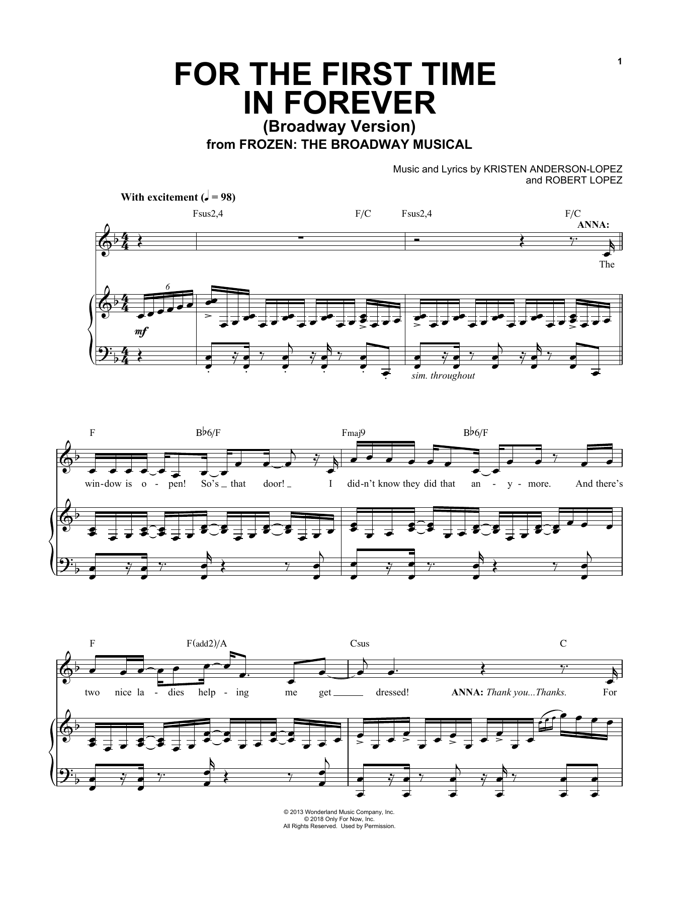 Kristen Anderson-Lopez & Robert Lopez For The First Time In Forever (from Frozen: The Broadway Musical) sheet music notes and chords. Download Printable PDF.