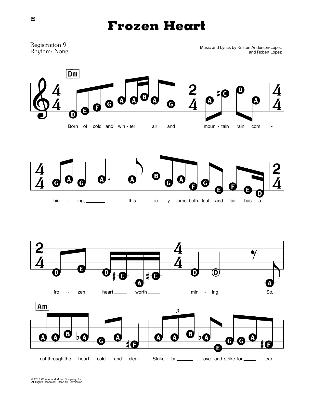 Kristen Anderson-Lopez & Robert Lopez Frozen Heart (from Disney's Frozen) sheet music notes and chords. Download Printable PDF.