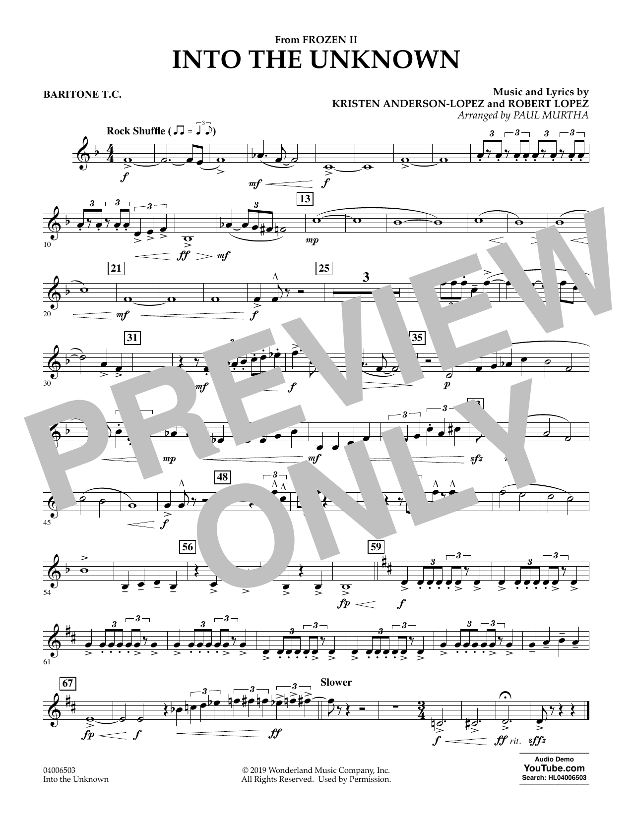 Kristen Anderson-Lopez & Robert Lopez Into the Unknown (from Disney's Frozen 2) (arr. Paul Murtha) - Baritone T.C. sheet music notes and chords. Download Printable PDF.