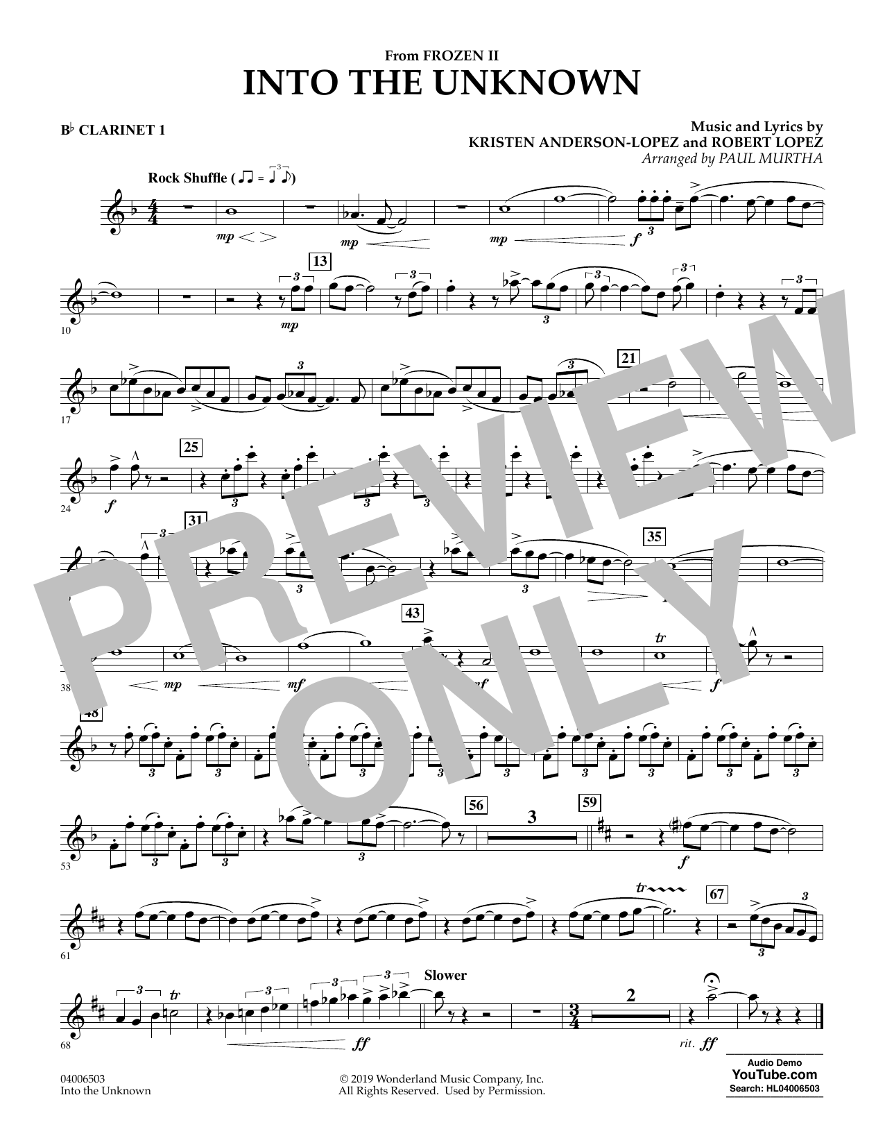 Kristen Anderson-Lopez & Robert Lopez Into the Unknown (from Disney's Frozen 2) (arr. Paul Murtha) - Bb Clarinet 1 sheet music notes and chords. Download Printable PDF.
