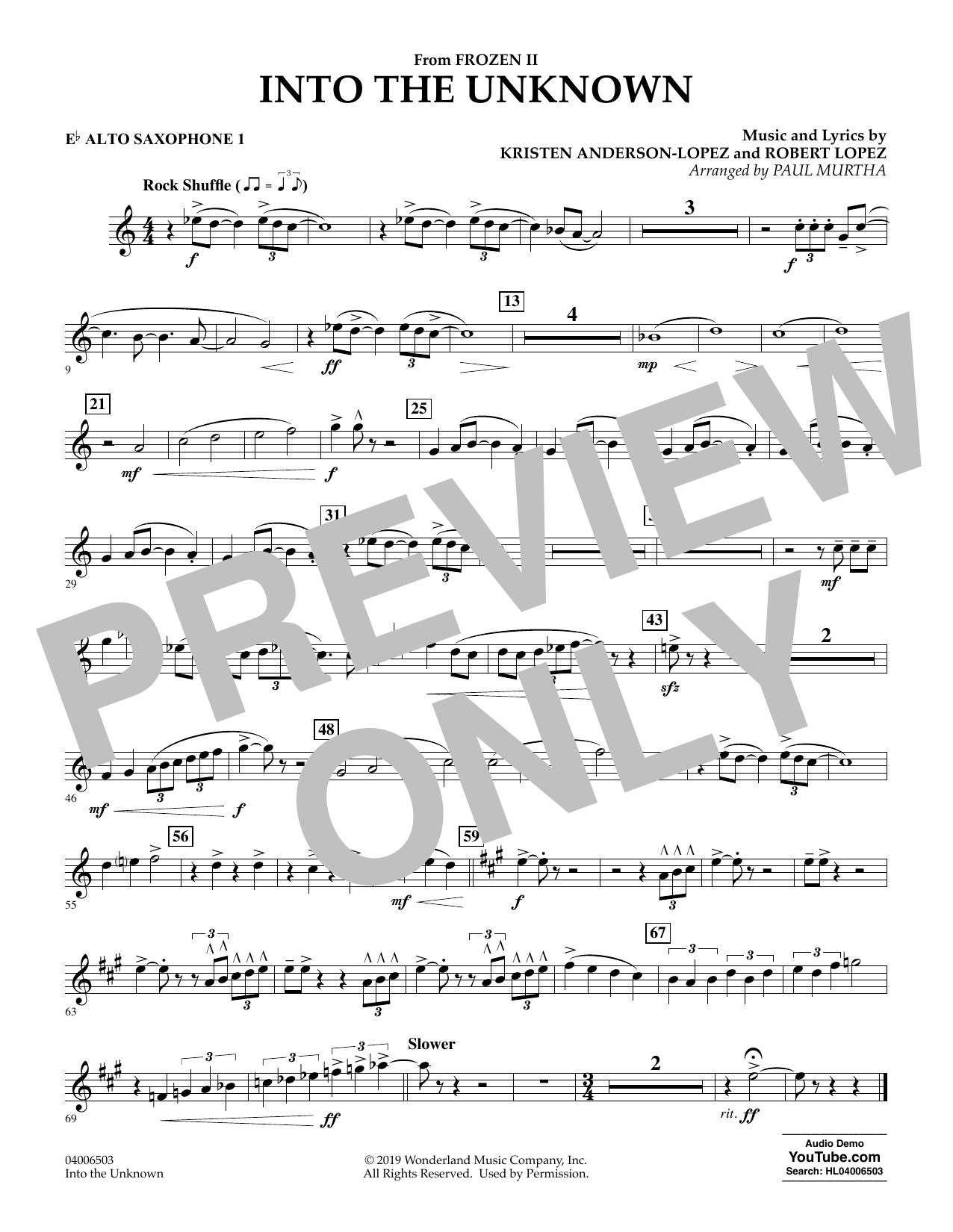 Kristen Anderson-Lopez & Robert Lopez Into the Unknown (from Disney's Frozen 2) (arr. Paul Murtha) - Eb Alto Saxophone 1 sheet music notes and chords. Download Printable PDF.