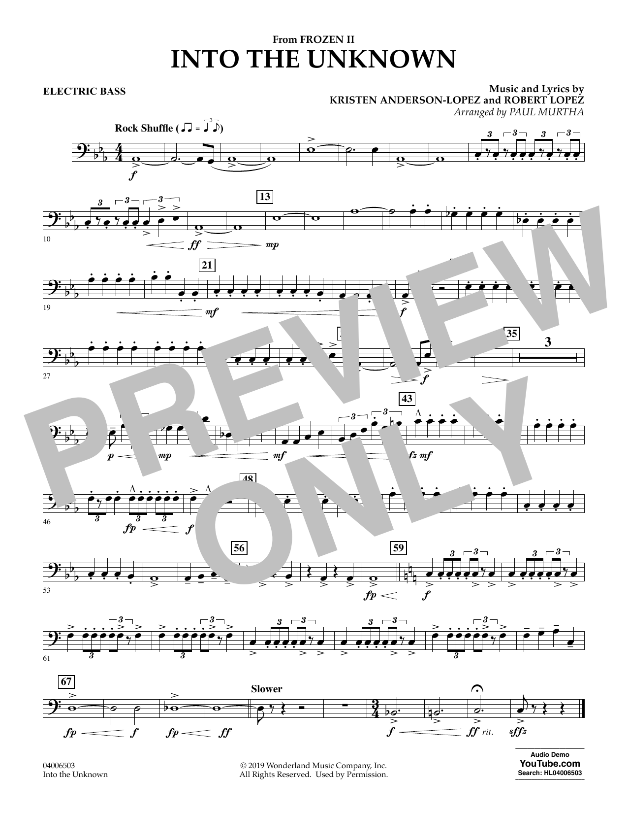 Kristen Anderson-Lopez & Robert Lopez Into the Unknown (from Disney's Frozen 2) (arr. Paul Murtha) - Electric Bass sheet music notes and chords. Download Printable PDF.