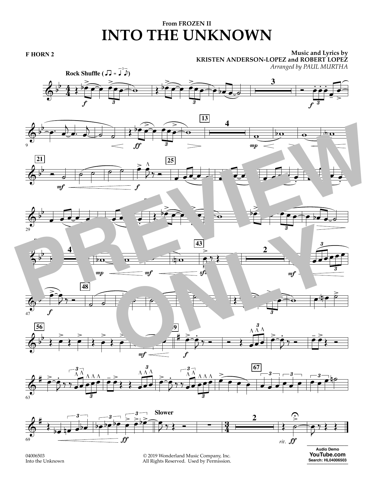 Kristen Anderson-Lopez & Robert Lopez Into the Unknown (from Disney's Frozen 2) (arr. Paul Murtha) - F Horn 2 sheet music notes and chords. Download Printable PDF.