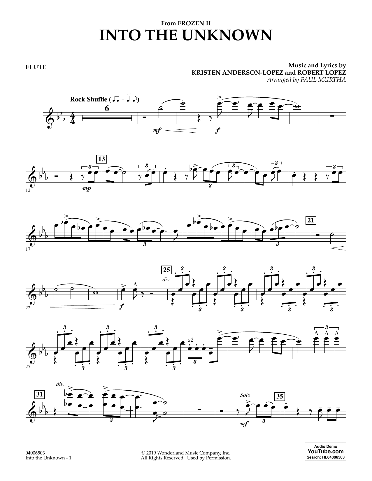 Kristen Anderson-Lopez & Robert Lopez Into the Unknown (from Disney's Frozen 2) (arr. Paul Murtha) - Flute sheet music notes and chords. Download Printable PDF.