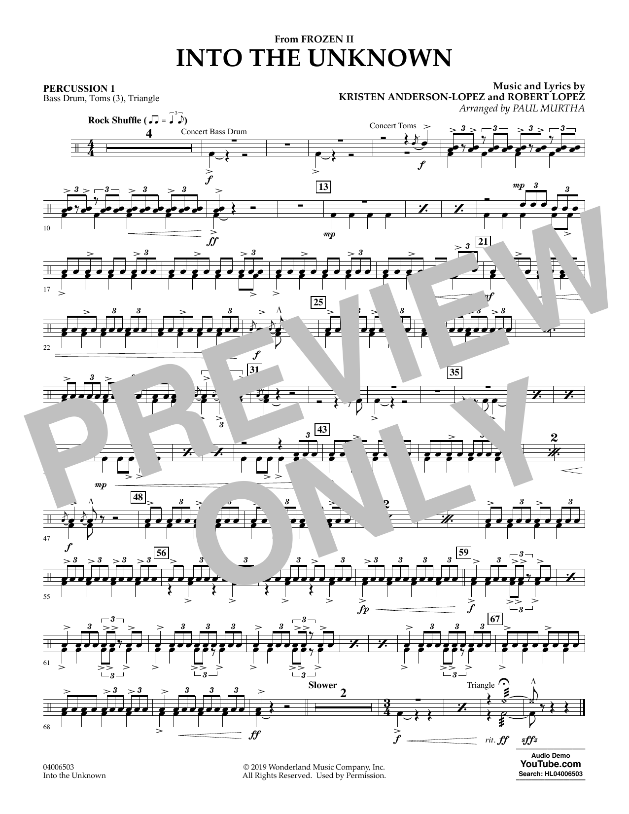Kristen Anderson-Lopez & Robert Lopez Into the Unknown (from Disney's Frozen 2) (arr. Paul Murtha) - Percussion 1 sheet music notes and chords. Download Printable PDF.
