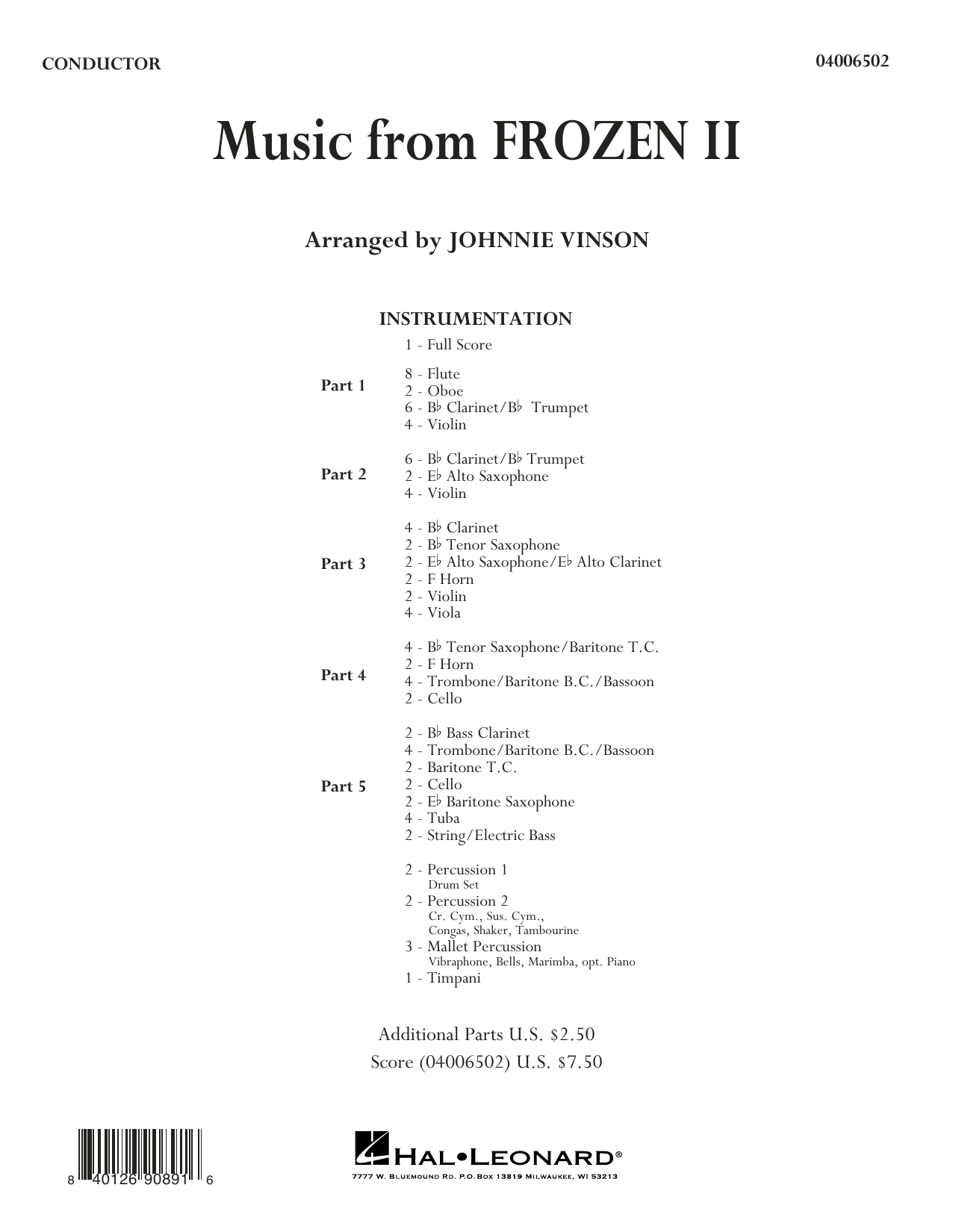 Kristen Anderson-Lopez & Robert Lopez Music from Disney's Frozen 2 (arr. Johnnie Vinson) - Conductor Score (Full Score) sheet music notes and chords. Download Printable PDF.