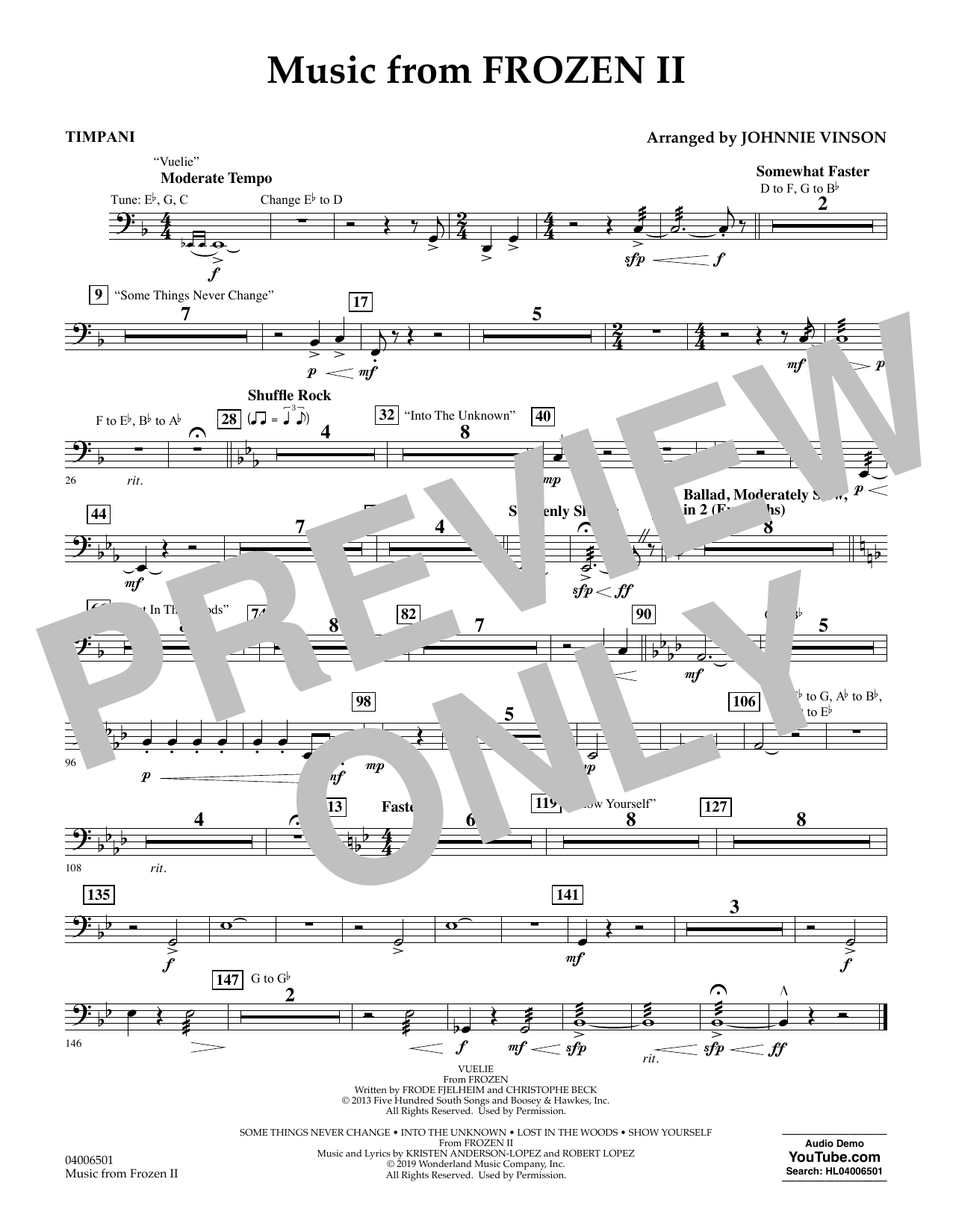 Kristen Anderson-Lopez & Robert Lopez Music from Disney's Frozen 2 (arr. Johnnie Vinson) - Timpani sheet music notes and chords. Download Printable PDF.