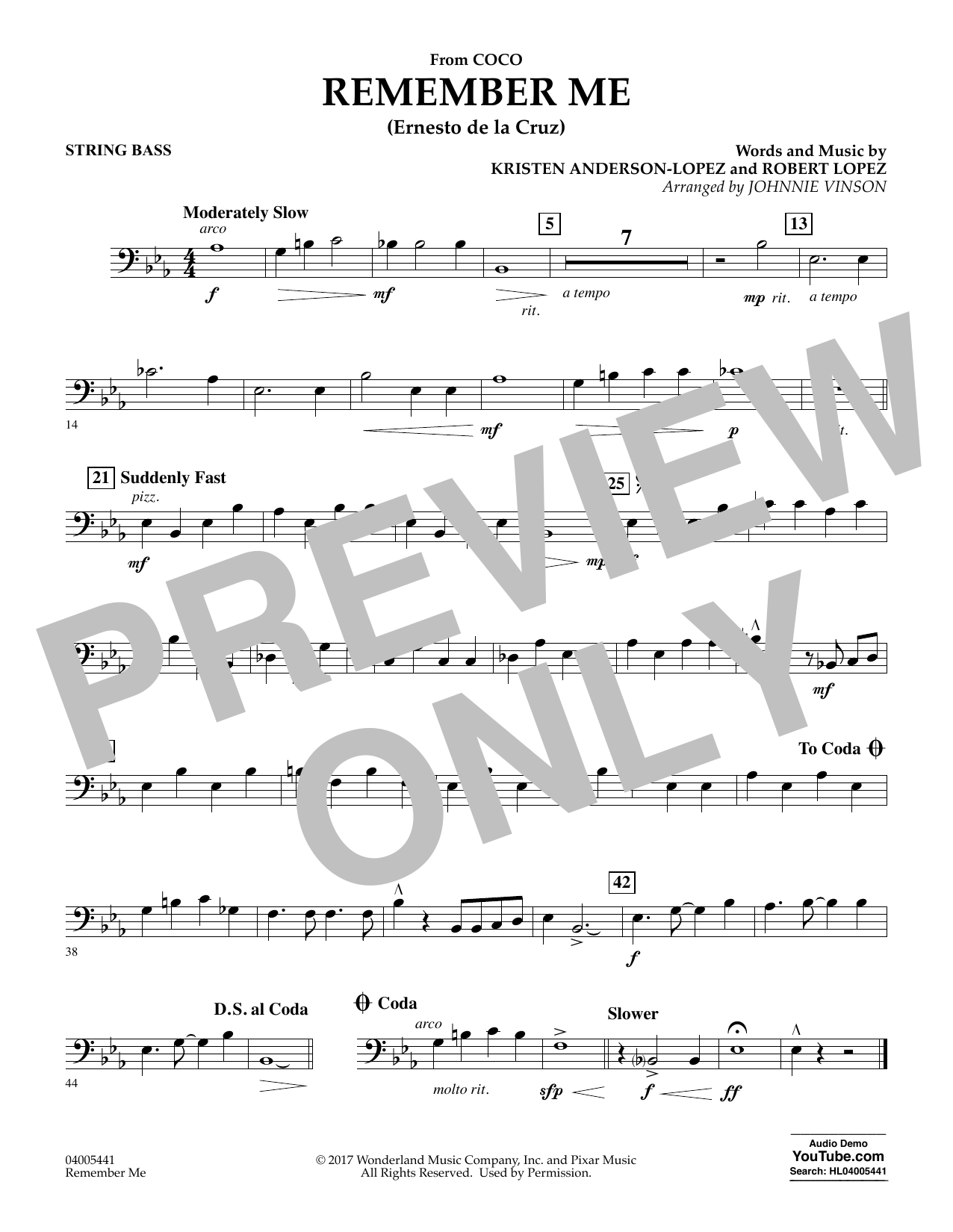 Kristen Anderson-Lopez & Robert Lopez Remember Me (from Coco) (arr. Johnnie Vinson) - Bass sheet music notes and chords. Download Printable PDF.