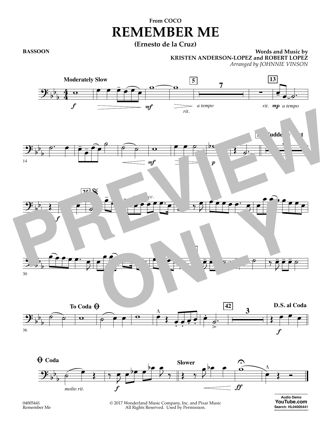 Kristen Anderson-Lopez & Robert Lopez Remember Me (from Coco) (arr. Johnnie Vinson) - Bassoon sheet music notes and chords. Download Printable PDF.