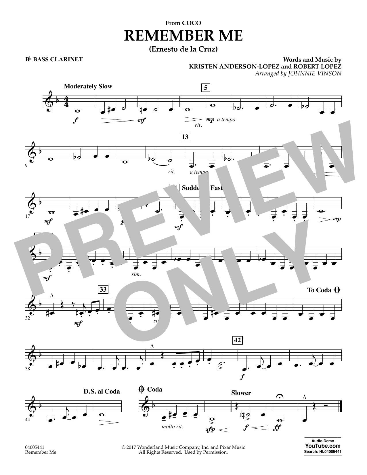 Kristen Anderson-Lopez & Robert Lopez Remember Me (from Coco) (arr. Johnnie Vinson) - Bb Bass Clarinet sheet music notes and chords. Download Printable PDF.