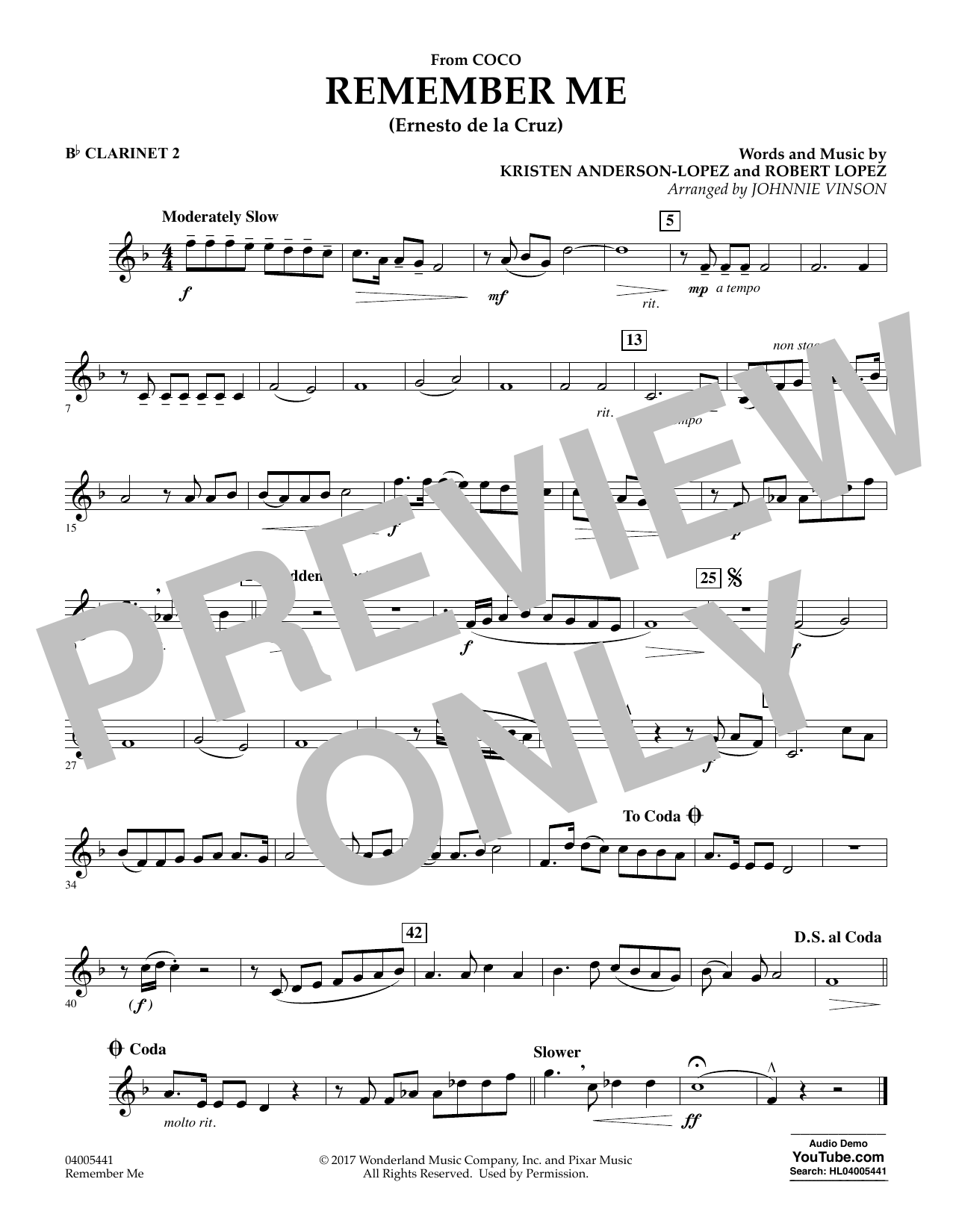 Kristen Anderson-Lopez & Robert Lopez Remember Me (from Coco) (arr. Johnnie Vinson) - Bb Clarinet 2 sheet music notes and chords. Download Printable PDF.