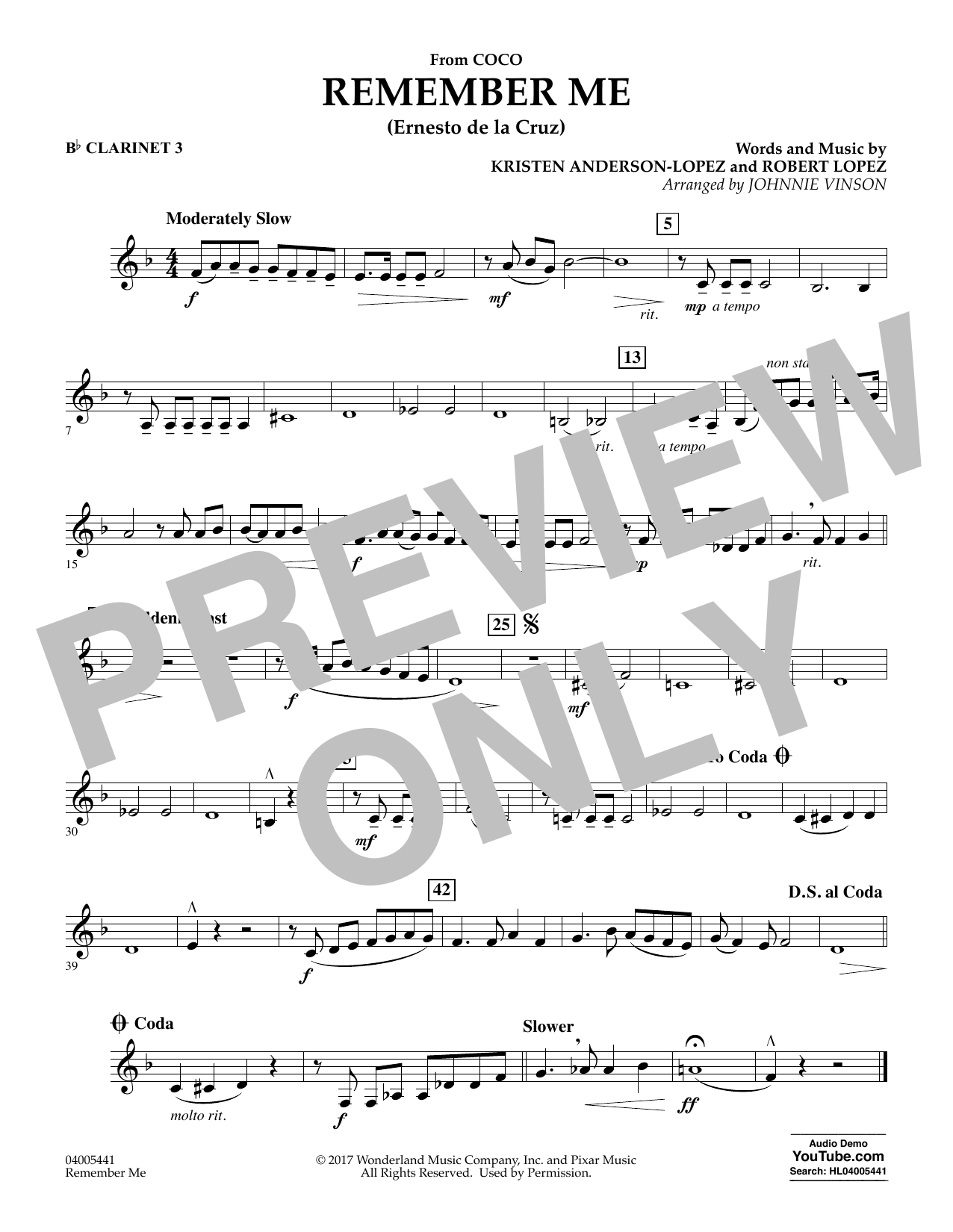 Kristen Anderson-Lopez & Robert Lopez Remember Me (from Coco) (arr. Johnnie Vinson) - Bb Clarinet 3 sheet music notes and chords. Download Printable PDF.