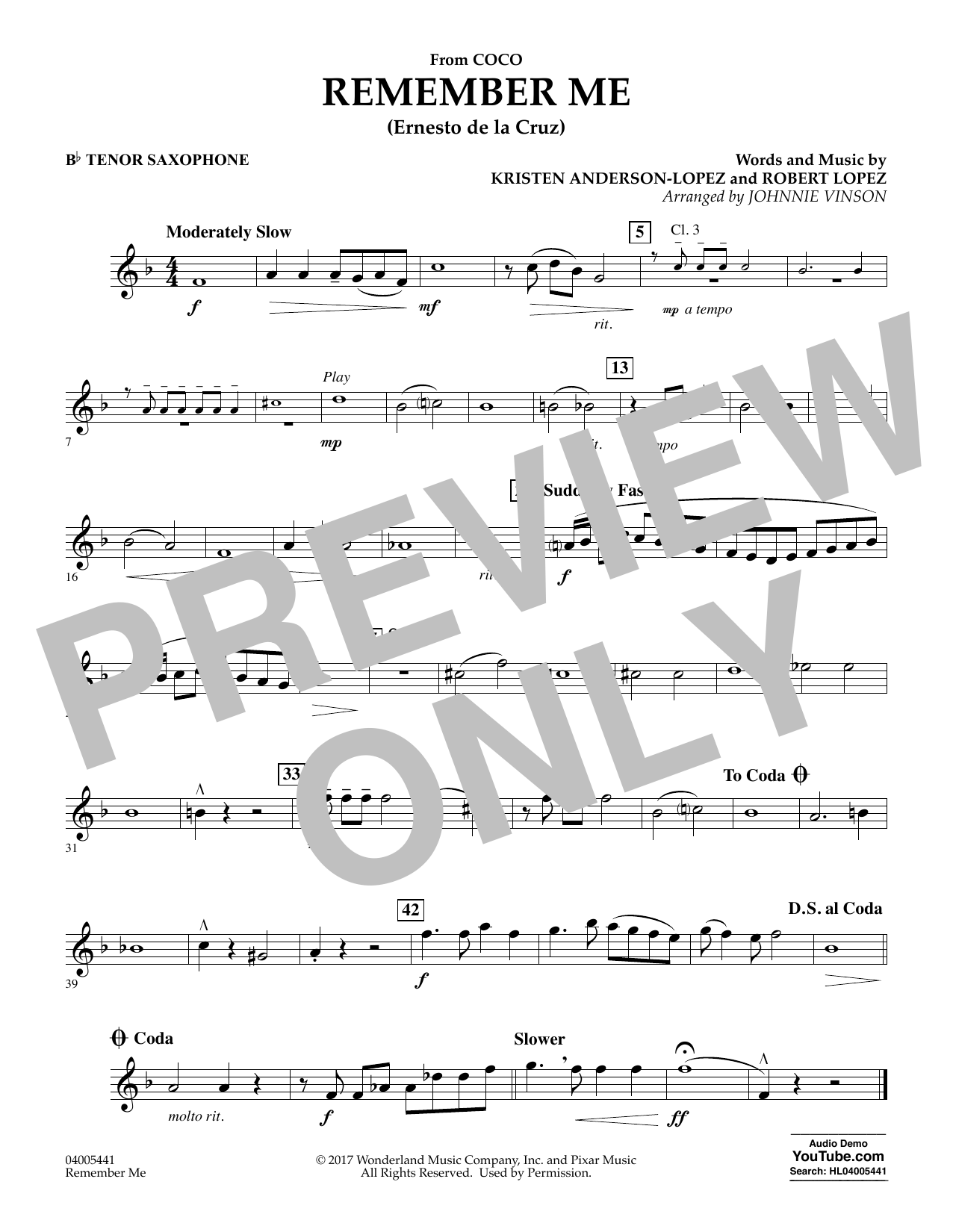 Kristen Anderson-Lopez & Robert Lopez Remember Me (from Coco) (arr. Johnnie Vinson) - Bb Tenor Saxophone sheet music notes and chords. Download Printable PDF.