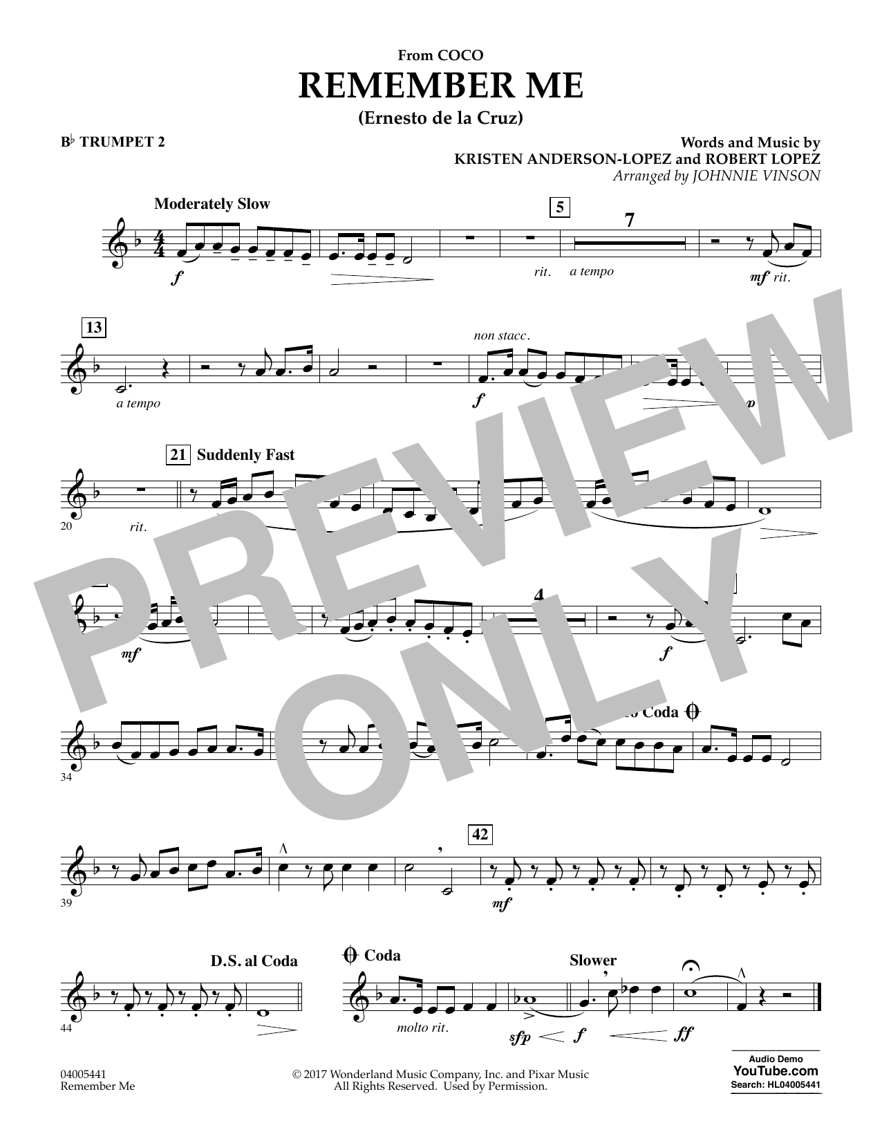 Kristen Anderson-Lopez & Robert Lopez Remember Me (from Coco) (arr. Johnnie Vinson) - Bb Trumpet 2 sheet music notes and chords. Download Printable PDF.