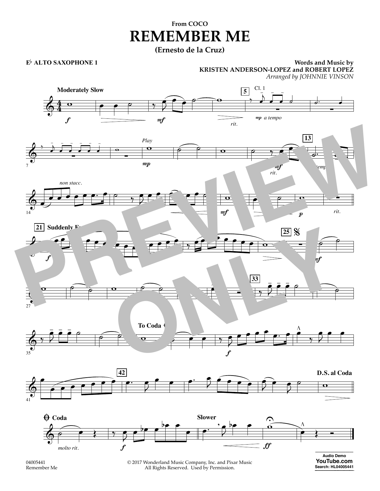 Kristen Anderson-Lopez & Robert Lopez Remember Me (from Coco) (arr. Johnnie Vinson) - Eb Alto Saxophone 1 sheet music notes and chords. Download Printable PDF.