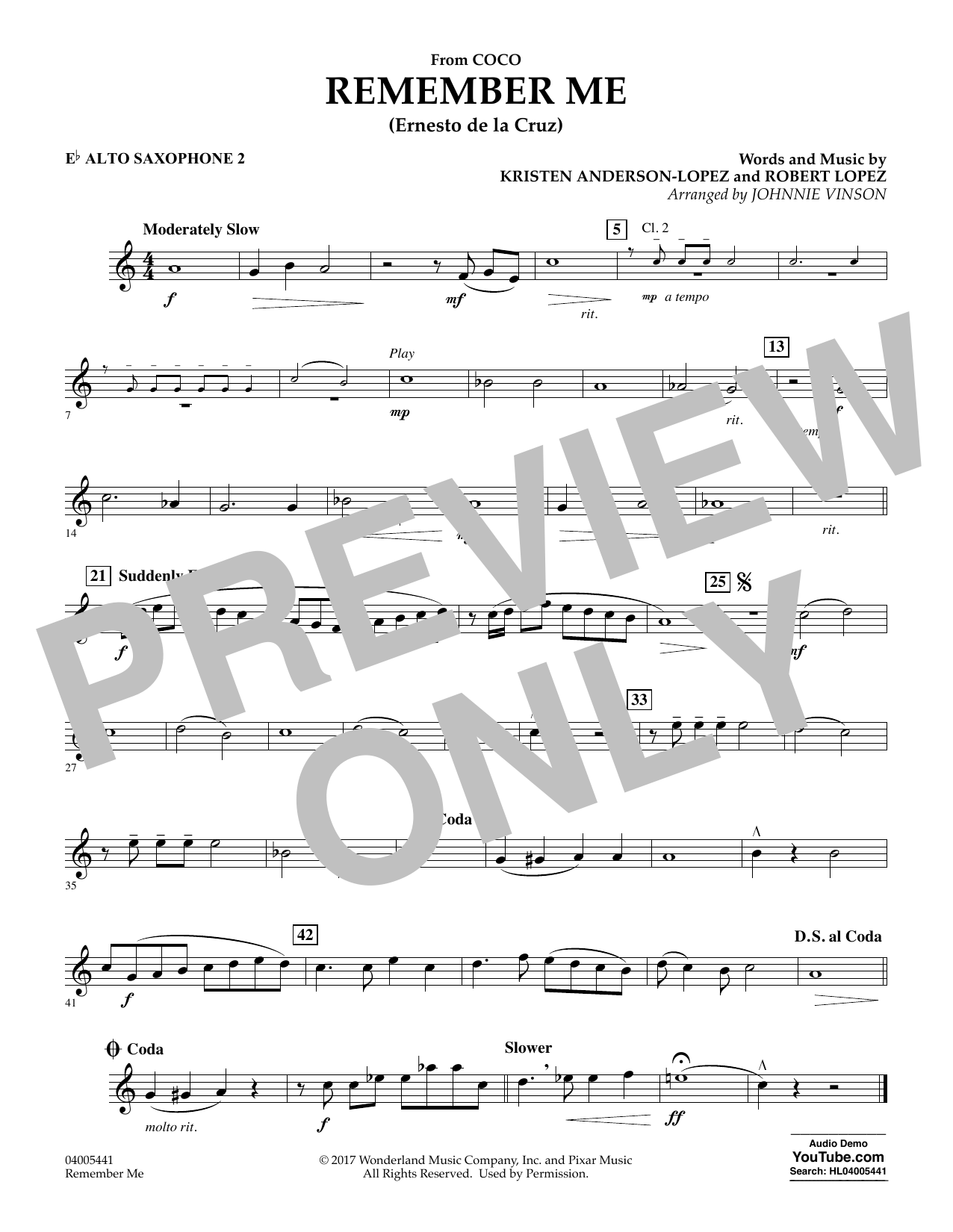 Kristen Anderson-Lopez & Robert Lopez Remember Me (from Coco) (arr. Johnnie Vinson) - Eb Alto Saxophone 2 sheet music notes and chords. Download Printable PDF.