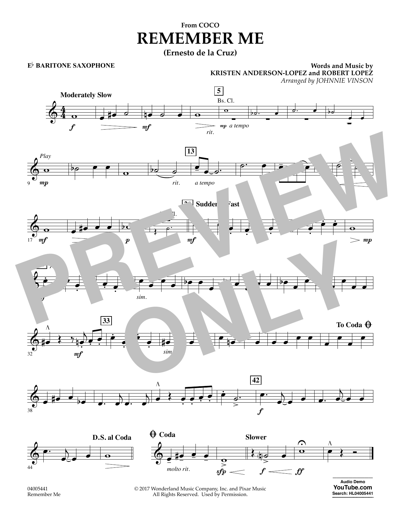 Kristen Anderson-Lopez & Robert Lopez Remember Me (from Coco) (arr. Johnnie Vinson) - Eb Baritone Saxophone sheet music notes and chords. Download Printable PDF.
