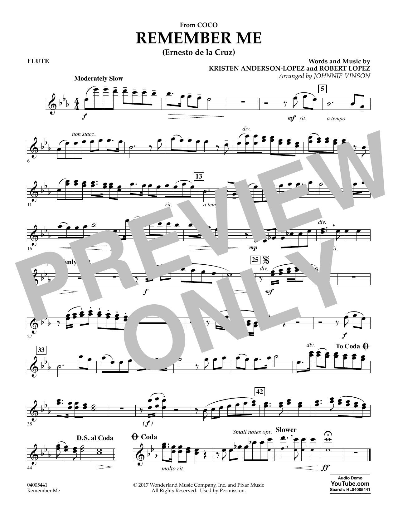 Kristen Anderson-Lopez & Robert Lopez Remember Me (from Coco) (arr. Johnnie Vinson) - Flute sheet music notes and chords. Download Printable PDF.