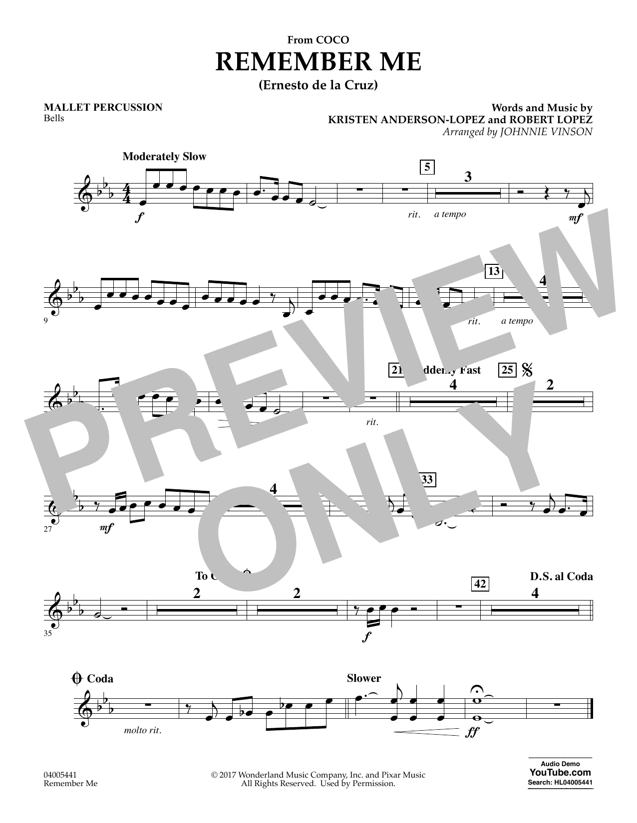 Kristen Anderson-Lopez & Robert Lopez Remember Me (from Coco) (arr. Johnnie Vinson) - Mallet Percussion sheet music notes and chords. Download Printable PDF.