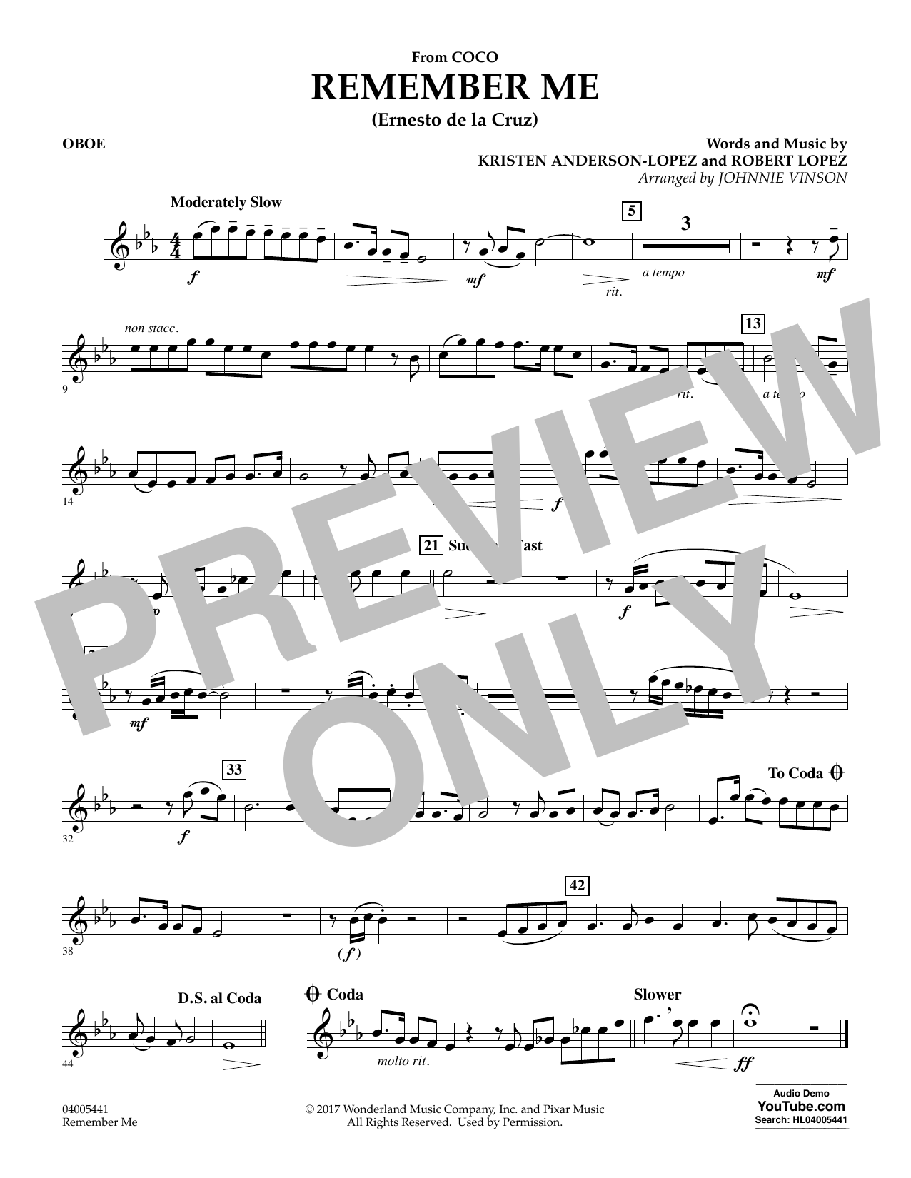 Kristen Anderson-Lopez & Robert Lopez Remember Me (from Coco) (arr. Johnnie Vinson) - Oboe sheet music notes and chords. Download Printable PDF.