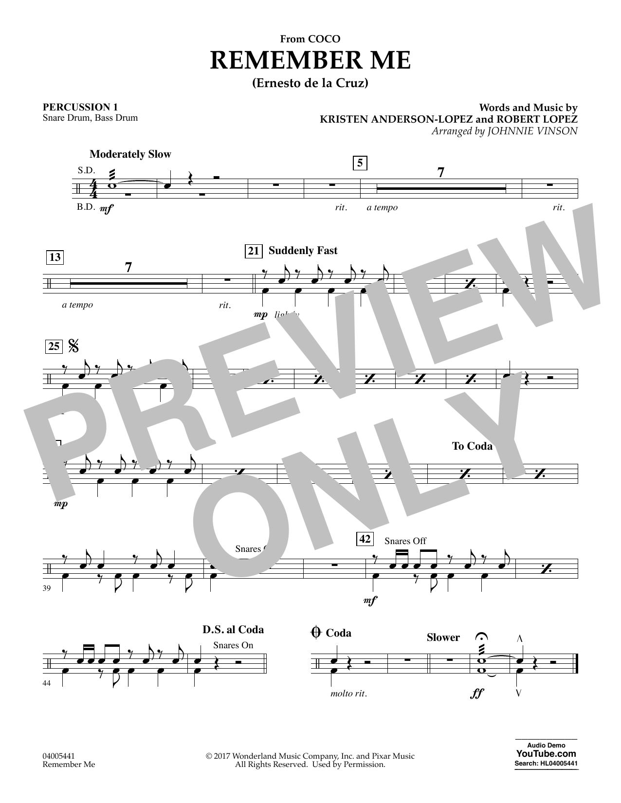 Kristen Anderson-Lopez & Robert Lopez Remember Me (from Coco) (arr. Johnnie Vinson) - Percussion 1 sheet music notes and chords. Download Printable PDF.