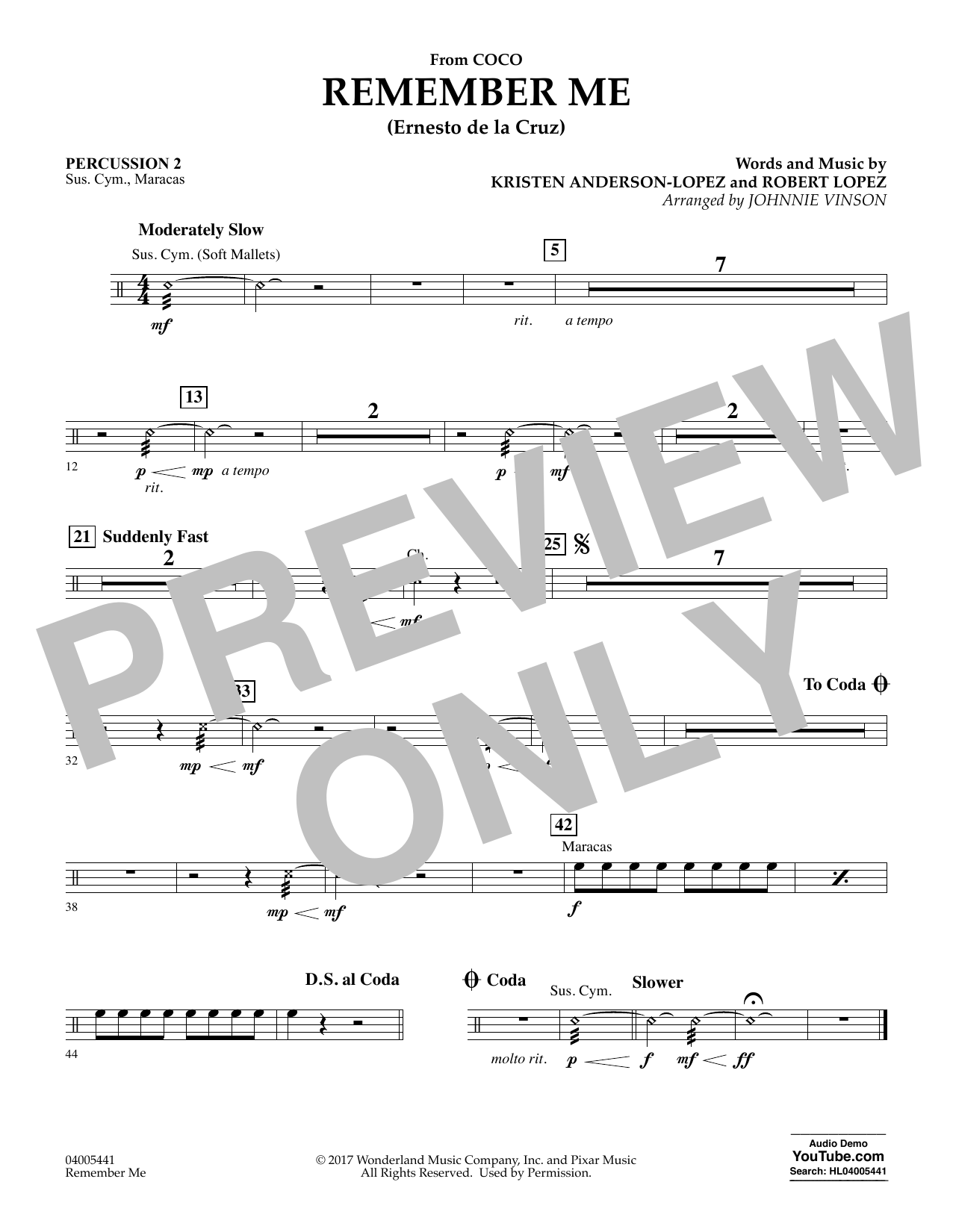 Kristen Anderson-Lopez & Robert Lopez Remember Me (from Coco) (arr. Johnnie Vinson) - Percussion 2 sheet music notes and chords. Download Printable PDF.
