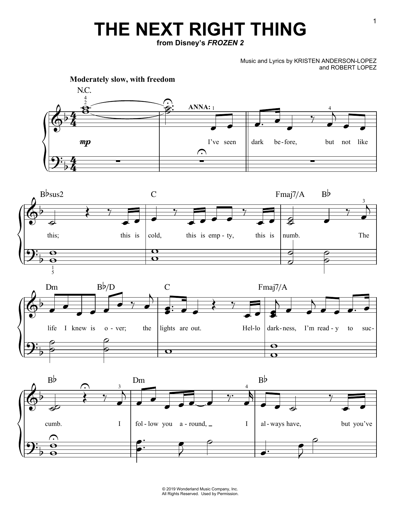 Kristen Bell The Next Right Thing (from Disney's Frozen 2) sheet music notes and chords