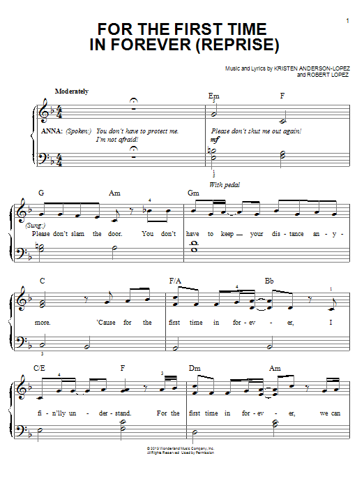 for the first time in forever sheet music free