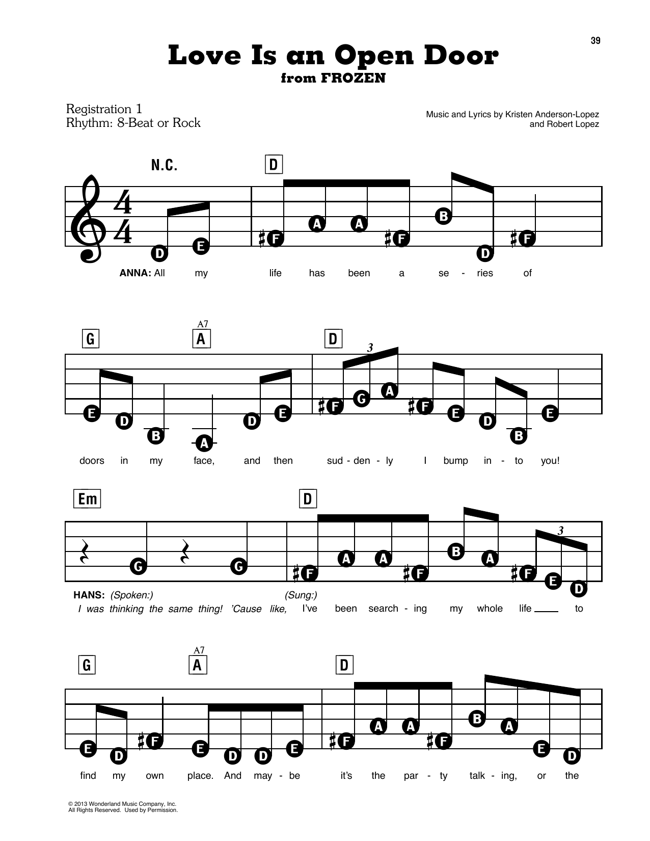 Kristen Bell & Santino Fontana Love Is An Open Door (from Disney's Frozen) sheet music notes and chords. Download Printable PDF.