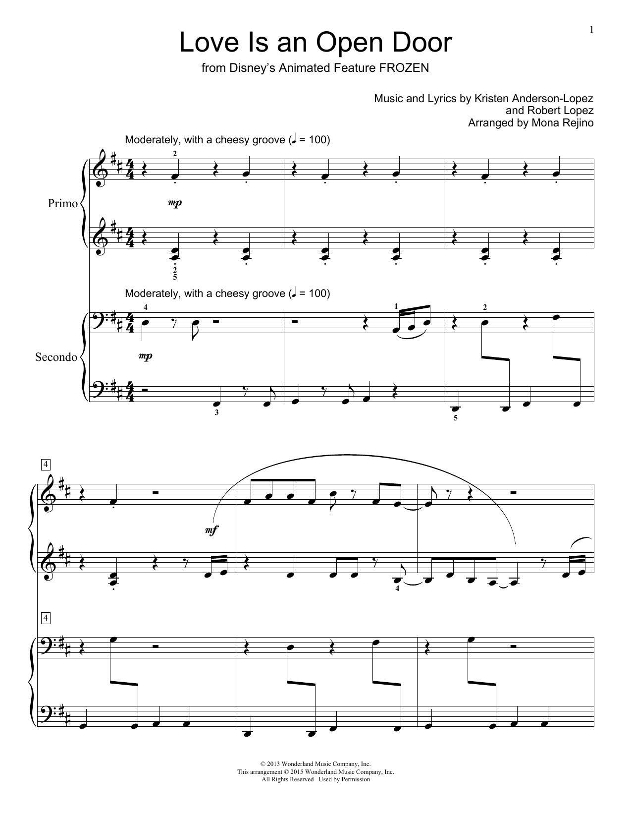Kristen Bell & Santino Fontana Love Is An Open Door from Disney's Frozen  arr. Mona Rejino Sheet Music Notes, Chords   Download Printable Piano ...