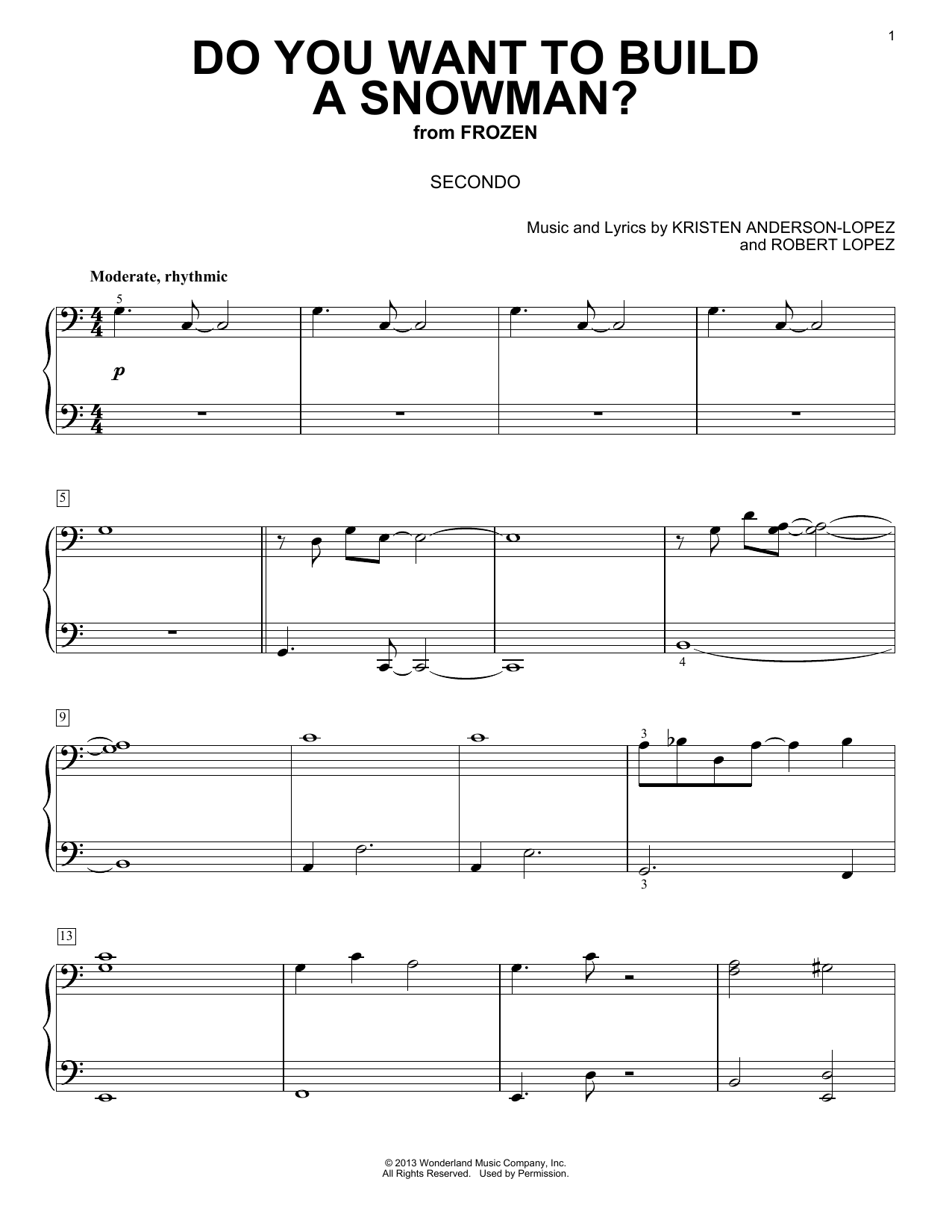 Kristen Bell, Agatha Lee Monn & Katie Lopez Do You Want To Build A Snowman? (from Disney's Frozen) sheet music notes and chords. Download Printable PDF.