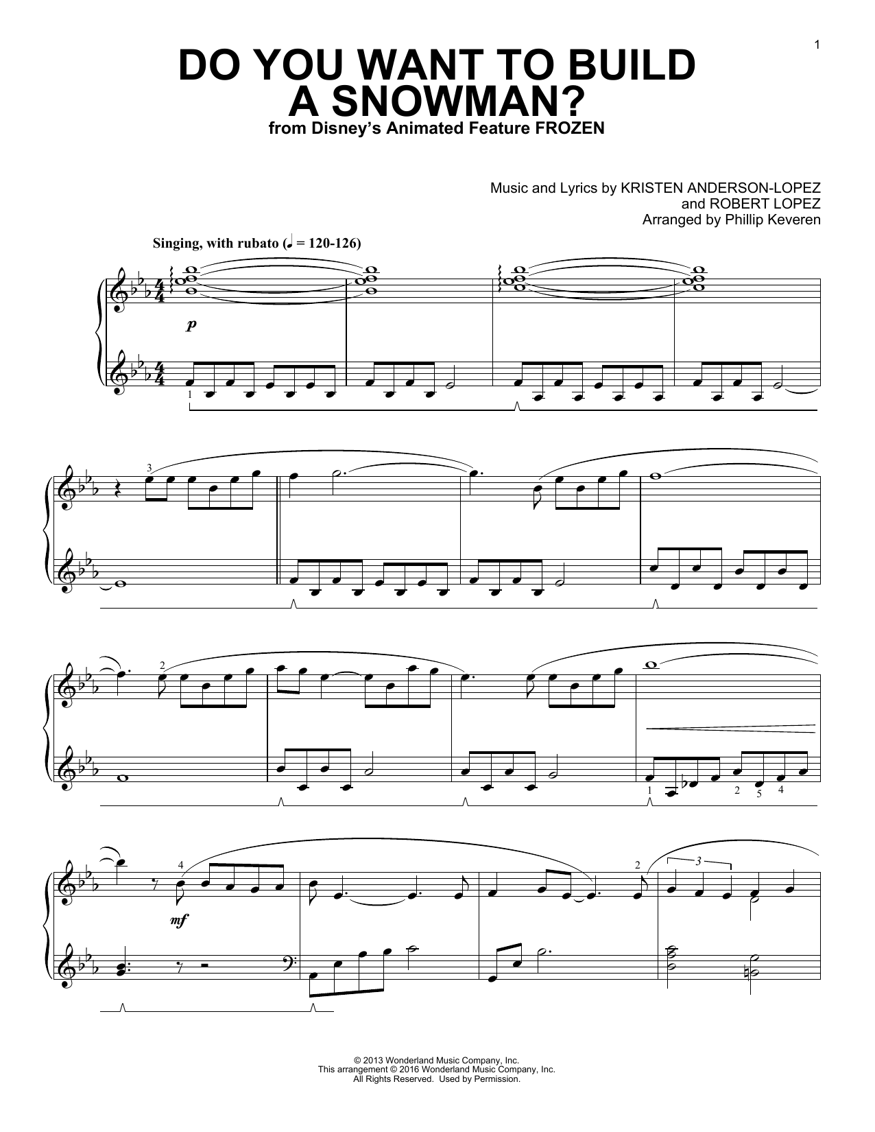 Kristen Bell, Agatha Lee Monn & Katie Lopez Do You Want To Build A Snowman? (from Disney's Frozen) (arr. Phillip Keveren) sheet music notes and chords. Download Printable PDF.