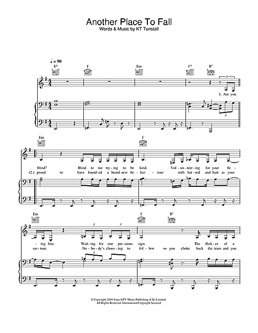 KT Tunstall Another Place To Fall sheet music notes and chords. Download Printable PDF.