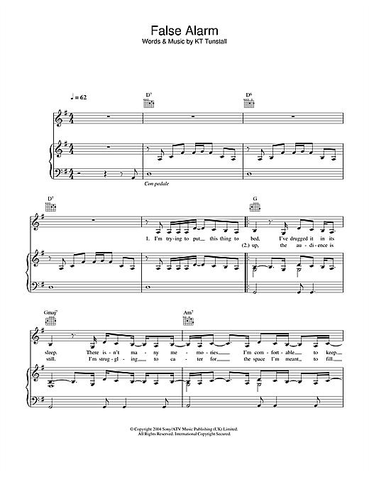 KT Tunstall False Alarm sheet music notes and chords. Download Printable PDF.