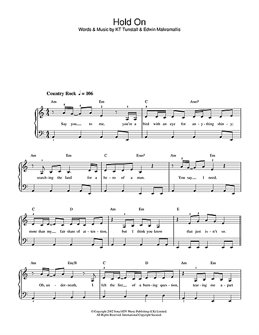 KT Tunstall Hold On sheet music notes and chords. Download Printable PDF.