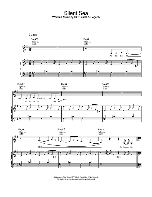 KT Tunstall Silent Sea sheet music notes and chords. Download Printable PDF.