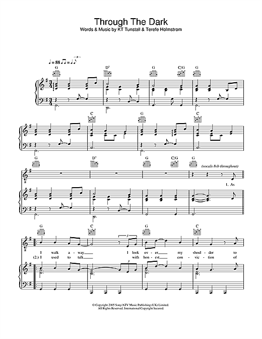 KT Tunstall Through The Dark sheet music notes and chords. Download Printable PDF.