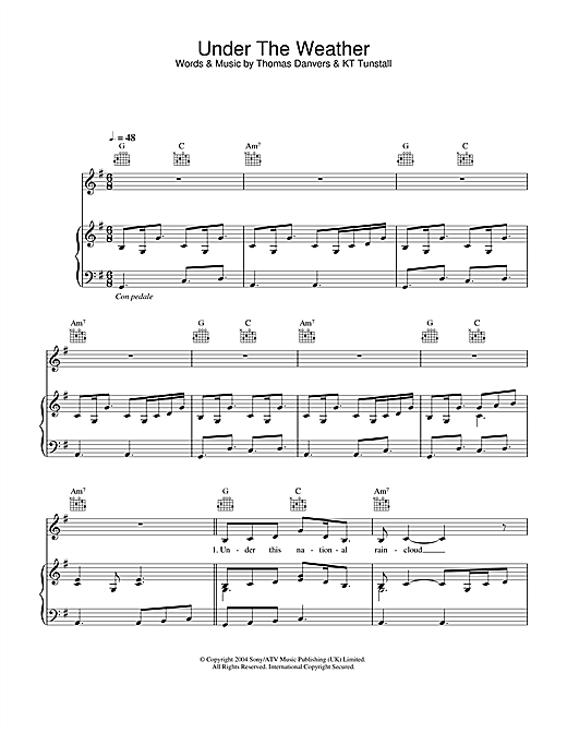 KT Tunstall Under The Weather sheet music notes and chords. Download Printable PDF.