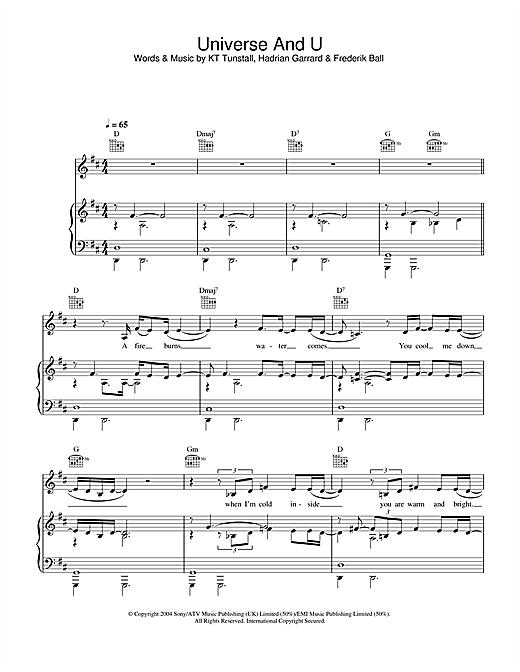 KT Tunstall Universe & U sheet music notes and chords. Download Printable PDF.