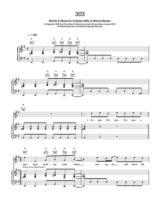 Kula Shaker 303 sheet music notes and chords. Download Printable PDF.