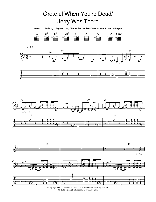 Kula Shaker Grateful When You're Dead/Jerry Was There sheet music notes and chords. Download Printable PDF.