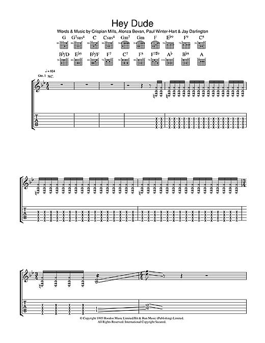 Kula Shaker Hey Dude sheet music notes and chords. Download Printable PDF.