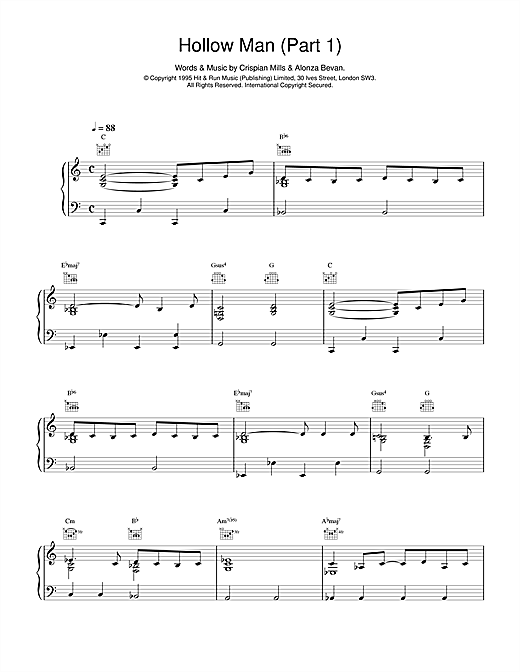Kula Shaker Hollow Man (Part 1) sheet music notes and chords