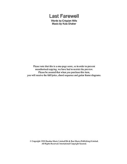 Kula Shaker Last Farewell sheet music notes and chords. Download Printable PDF.