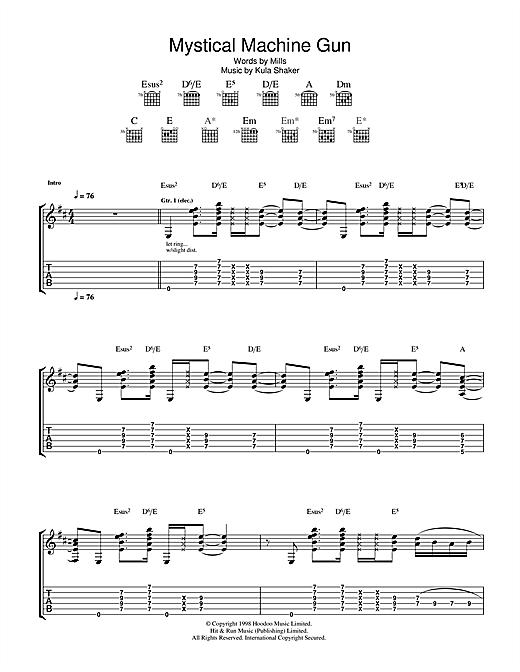 Kula Shaker Mystical Machine Gun sheet music notes and chords. Download Printable PDF.