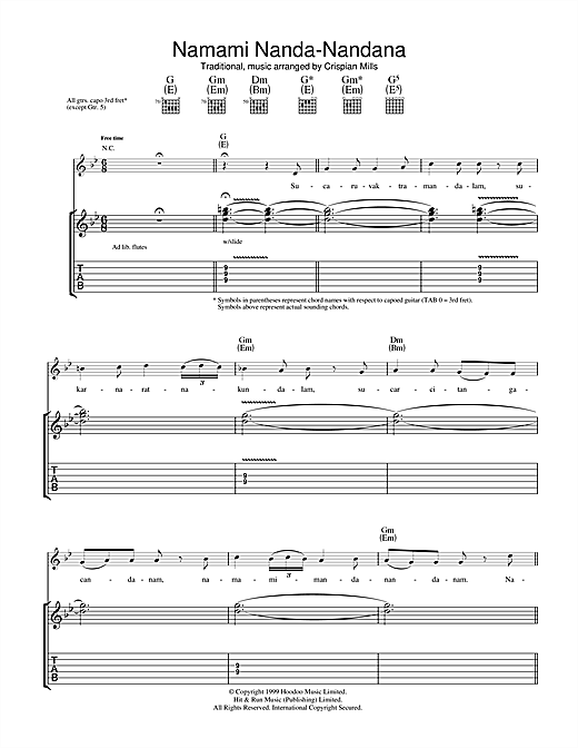 Kula Shaker Namami Nanda Nandana sheet music notes and chords. Download Printable PDF.