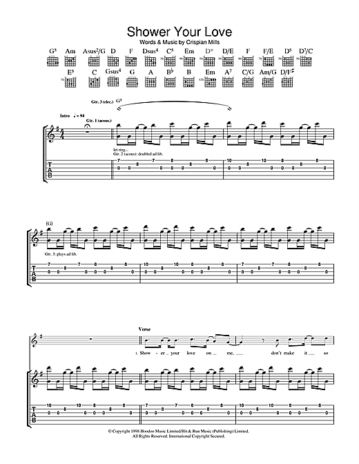 Kula Shaker Shower Your Love sheet music notes and chords. Download Printable PDF.