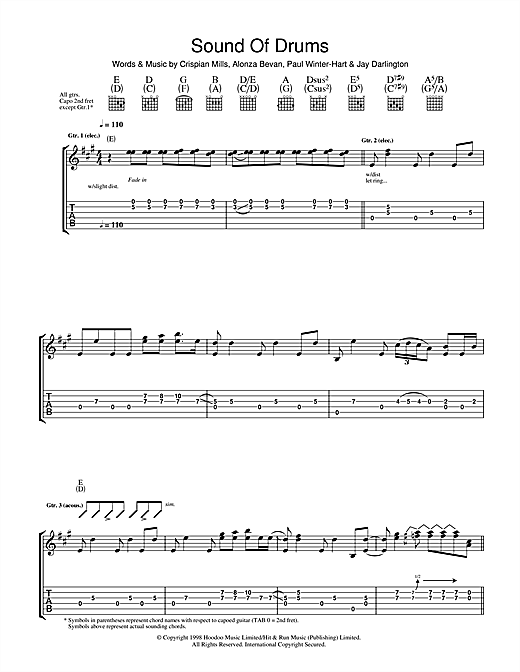 Kula Shaker Sound Of Drums sheet music notes and chords. Download Printable PDF.