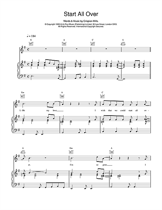 Kula Shaker Start All Over sheet music notes and chords
