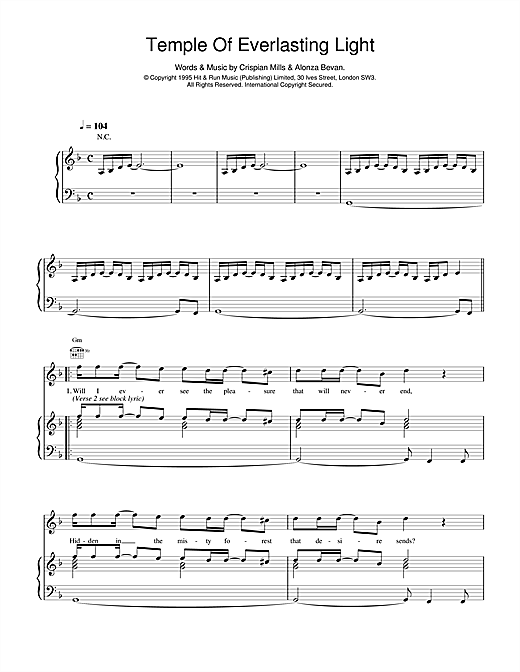 Kula Shaker Temple Of Everlasting Light sheet music notes and chords